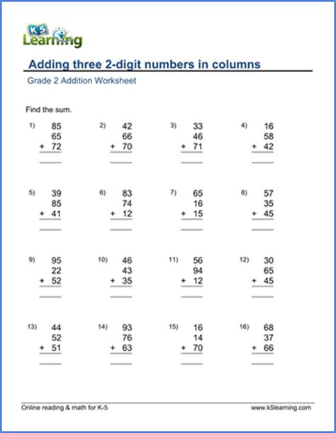 grade 2 math worksheets adding three 2 digit numbers in