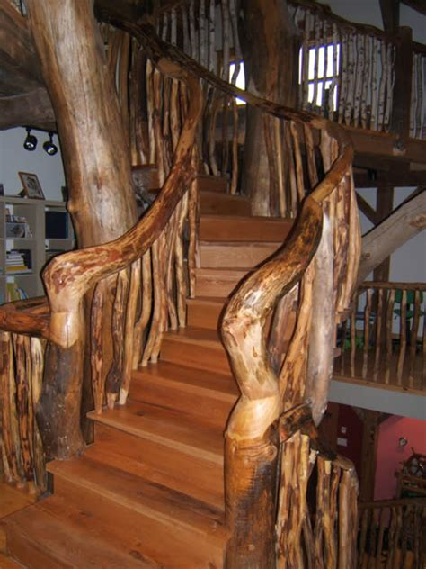 timber frame home   tree staircase