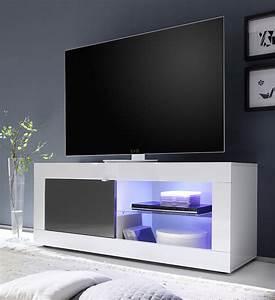 Meuble Tv Led Conforama : meuble tv design blanc et gris laqu ~ Dailycaller-alerts.com Idées de Décoration