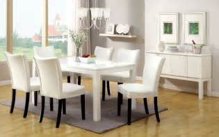 white dining room set 7pc lamia white high gloss lacquer dining table set 6 white chairs