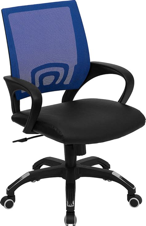 flash furniture mid back blue mesh computer chair w black