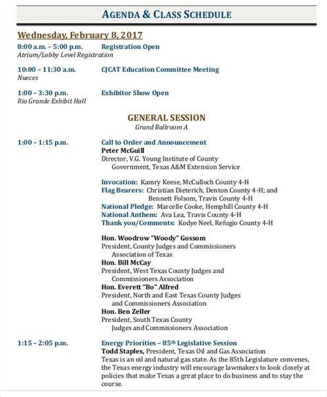 agenda schedule templates   word  format