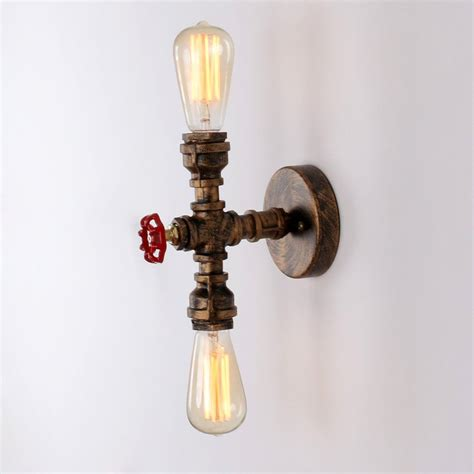rustic copper pipe wall light with 2 bulb sockets painted