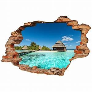 Image Trompe L Oeil : sticker trompe l 39 oeil le paradisiaque stickers art et ~ Melissatoandfro.com Idées de Décoration