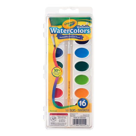 crayola watercolor paint set 16 color palette