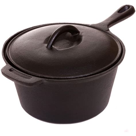 iron pots and pans cajun cookware 1 1 2 quart seasoned cast iron sauce pot gl10491as bbq guys