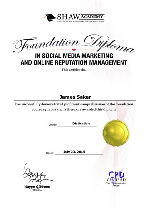 Diploma Of Social Media Marketing by Diploma Certificate Shaw Academy 230715