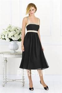 Robe Mi Longue Mariage : robe noire simple mi longue aux bretelles pour cocktail mariage ~ Melissatoandfro.com Idées de Décoration