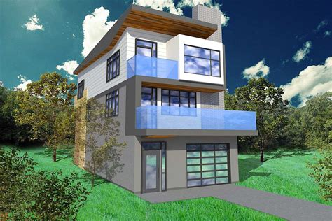 narrow lot contemporary home plan sp architectural designs house plans