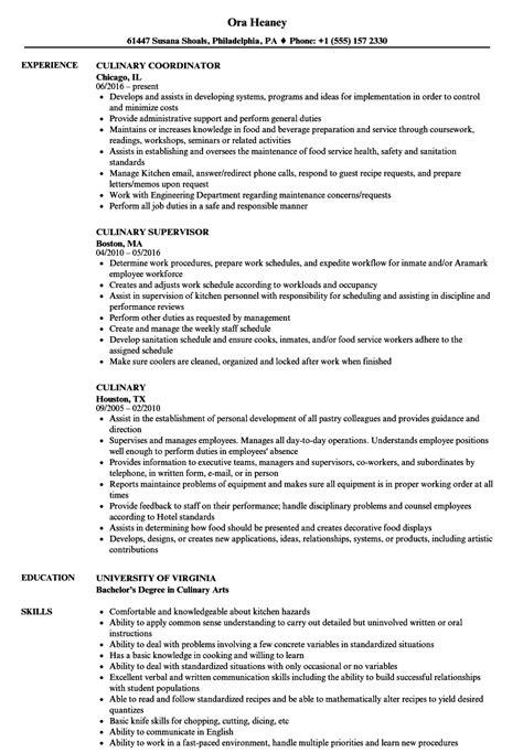 Culinary Resume Sle by Culinary Resume Sles Velvet