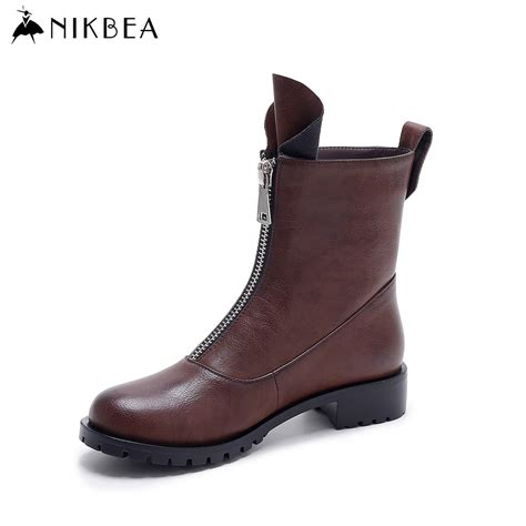 motorcycle boots 2016 aliexpress com buy nikbea vintage flat ankle boots