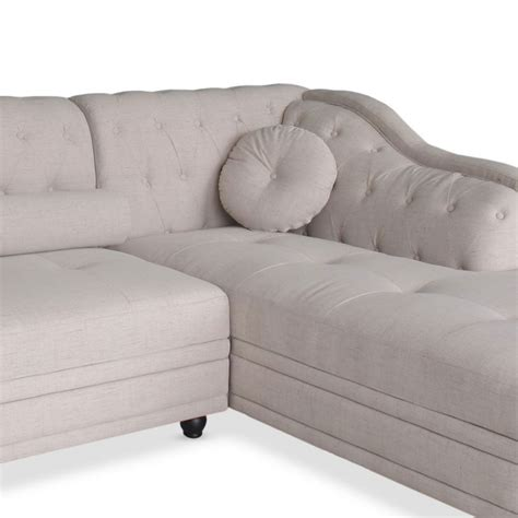 canapé tissu angle canapé chesterfield d 39 angle en tissu beige pas cher