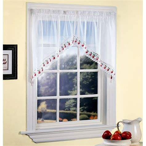 apple orchard sheer voile kitchen swag white walmart com