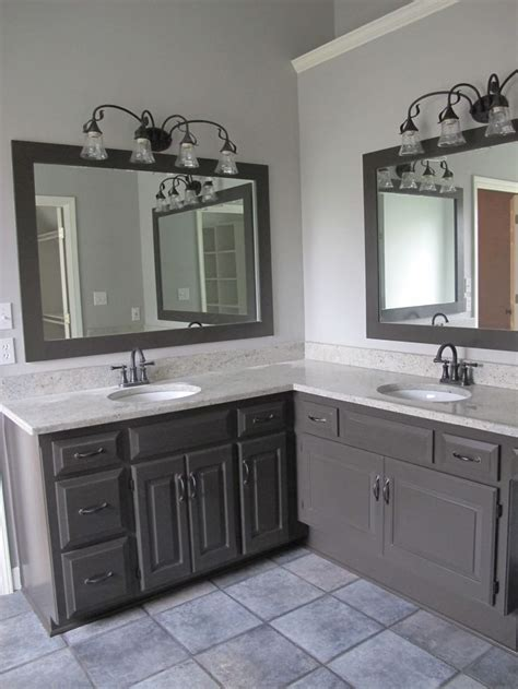 cool gray    bathroom  painted  cabinets
