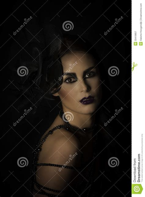Portrait Of Dramatic Woman In Black Stock Image Image Of