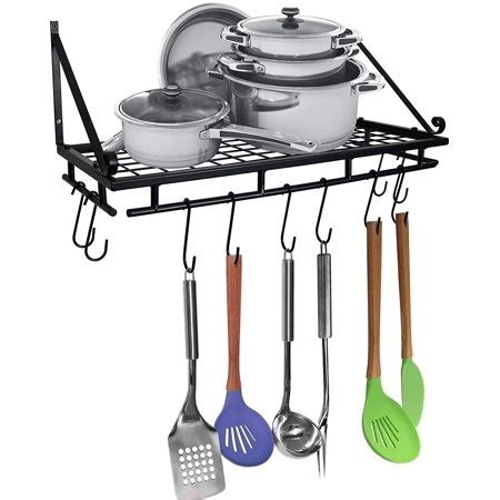 Pan Shelf With Hooks by Greenco Wall Mounted Pot And Pan Organizer Shelf With 10