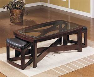 rectangle black wooden table with glass top combined with With glass coffee table with stools underneath
