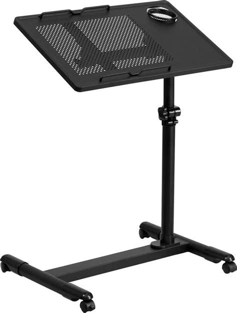adjustable mobile laptop desk flash furniture black adjustable height steel mobile