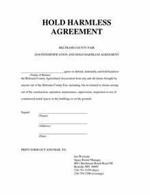 Hold Harmless Agreement Template Best Business Template