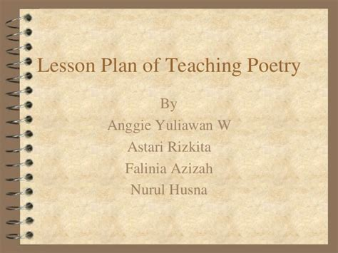 lesson plan of teaching poetry