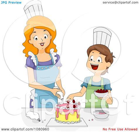 Clipart Home Economics Teacher Helping A Boy Decorate A ...