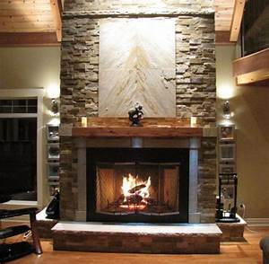 Zen Inspired Stone Fireplace - Contemporary - Living Room