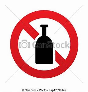Drawing of No Alcohol sign icon. Drink symbol. Bottle. Red ...