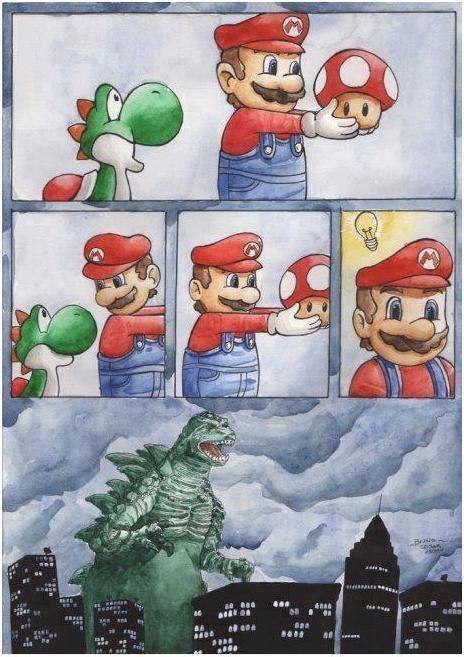 Mario Mushroom Godzilla Games Funny Pictures