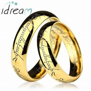 gold lotr laser engraved tungsten wedding bands set domed With lotr wedding rings