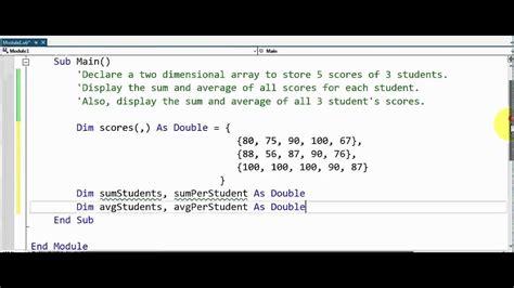 Visual Basic  Multidimensional Arrays Youtube