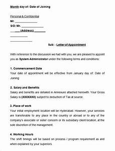 sample system administrator appointment letter appointment With health insurance offer letter