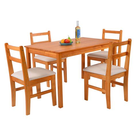 wood dining table with upholstered chairs 5 pcs pine wood dining set table and 4 upholstered chair