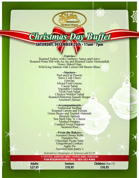 shilo portland restaurant holidays menu