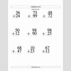 Twodigit Addition  9 Questions (a) Large Print Math Worksheet