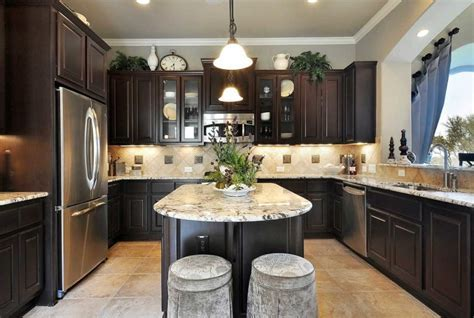Kitchen Awesome Kitchen Design With Dark Oak U Shaped