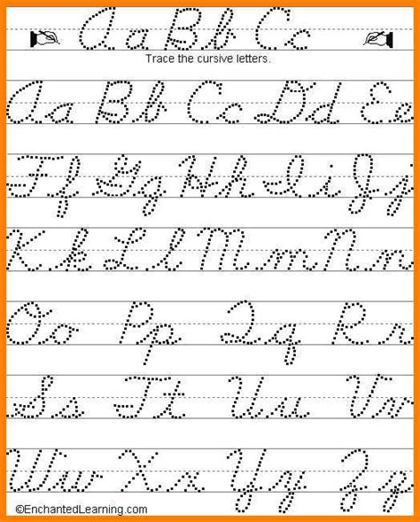 9 Cursive Handwriting Chart Arseloquentiae