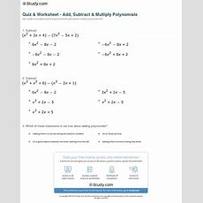 Quiz & Worksheet  Add, Subtract & Multiply Polynomials Studycom