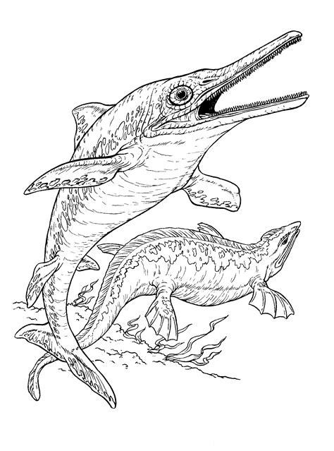 coloring page ichthyosaur  plesiosaur