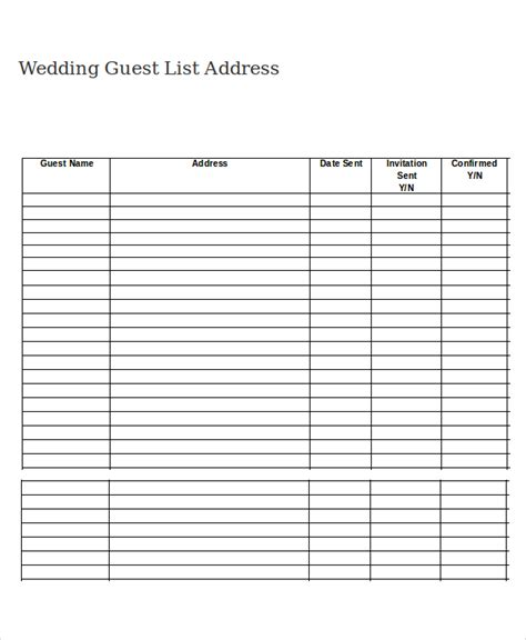 Addressable Template by Wedding Guest List Template 9 Free Word Excel Pdf
