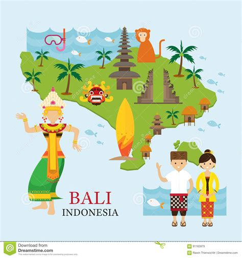 bali indonesia map  travel  attraction stock