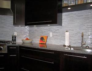 Espresso Kitchen with glass and marble mosaic tile ...
