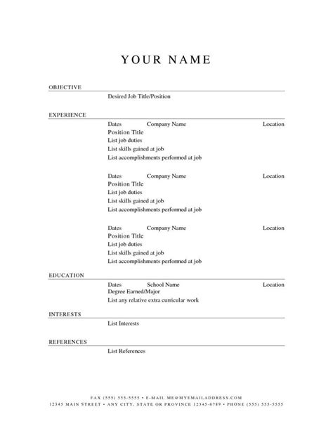 Basic Resume Templates For Free by Curriculum Vitae Template Word Free
