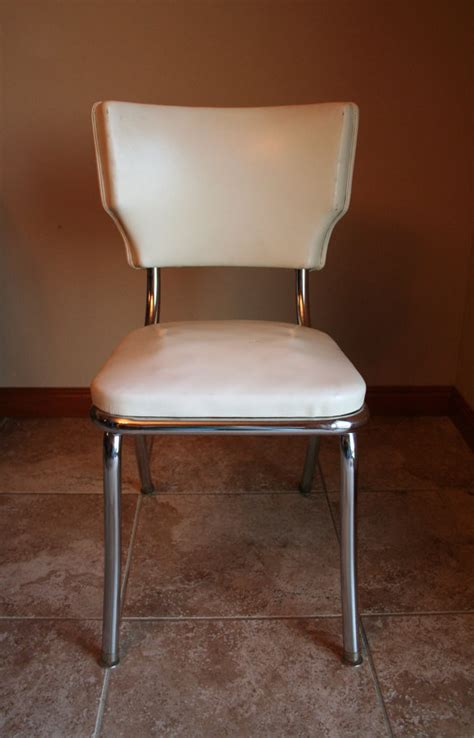 retro white vinyl kitchen desk chair mid by turtlehillshop