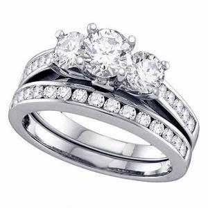 Womens 3 stone brilliant round diamond engagement ring for Ebay diamond wedding ring sets