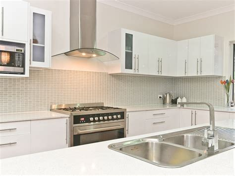 White Kitchen And Funky Tiled Splashback  Kitchen Ideas