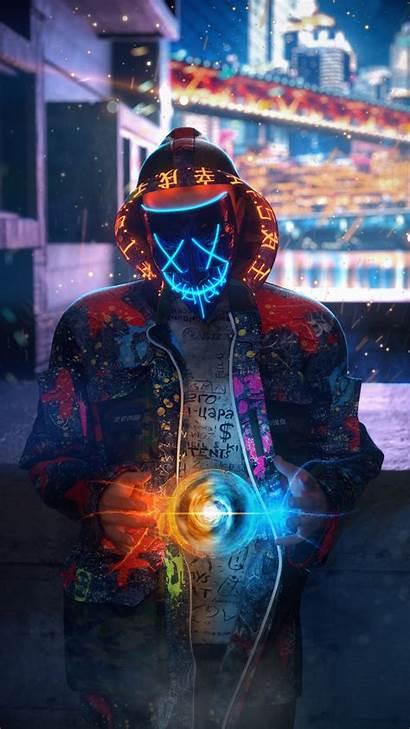 Neon Mask Guy Chakra 4k Mobile Widescreen