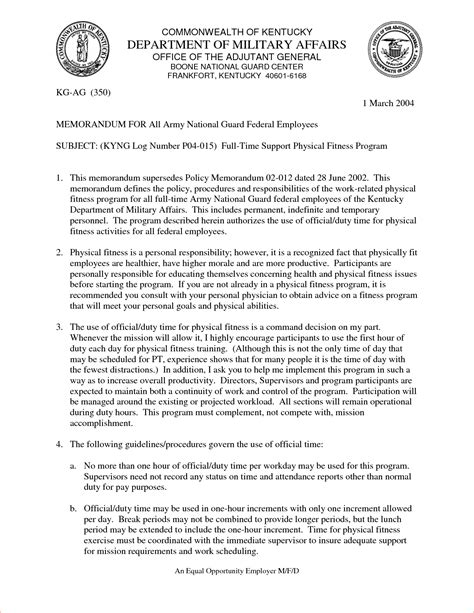Army Letter Format 7 Army Memo Format Memo Formats