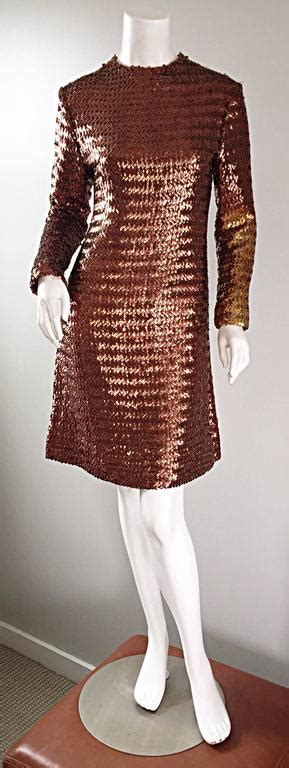 1960s Suzy Perette Bronze Ombre Fully Sequined A Line