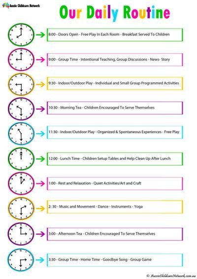 daily room routine template aussie childcare network
