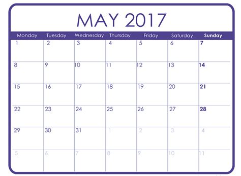 Calandar Template by May 2017 Printable Calendar Templates Free Printable